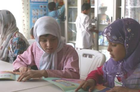 Girls using the resources at the MAMA Resource Centre in Hope House, Kabul.