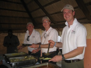 John Fraser, Mark Fraser and Paul Singer helping with lunch