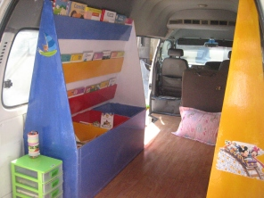 Shelving inside the Mobile Library