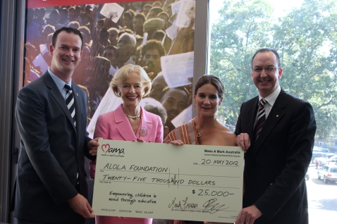 Cheque handover with Kirsty Sword-Gusmao