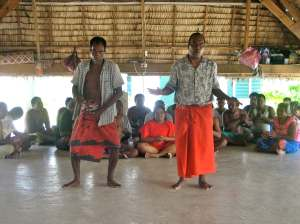 Patients at the Kiribati Mental Health Facility perform dances and songs during the visit by the MAMA Team.