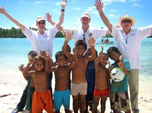 Mark, Paul and John meet with some of the children in South Tarawa who will benefit from the MAMA Resource Centre.