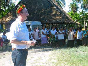 Mark addresses the assembled guests and women of AMAK during the opening ceremony.