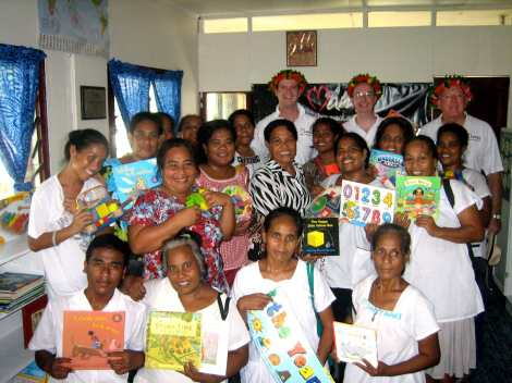 Paul Singer, Mark Fraser and John Fraser with the AMAK women in the MAMA Resource Centre in Kiribati.