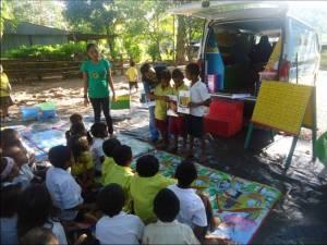 The Grade 3 children enjoy alphabet activities.