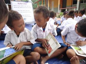 Children enjoy the 'buddy reading' activities during storytime.
