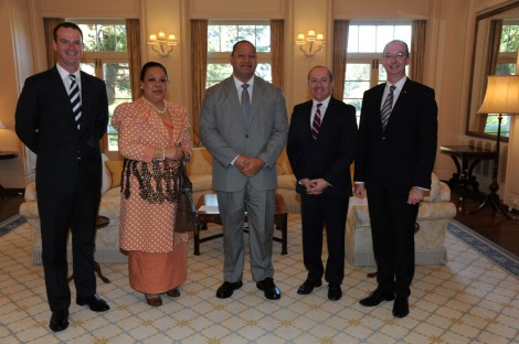L to R: Paul Singer; Her Majesty Queen Nanasipau'u; His Majesty King Tupou VI; Stephen Brady; and Mark Fraser.
