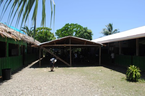 Makeshift classrooms have been built to accommodate the rapidly growing student population.