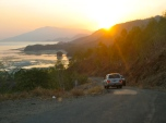 The sun rising over the distant hills as the MAMA team leave Dili for Soibada.
